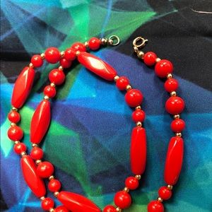 Jewelry - RED FAUX BEAD NECKLACE